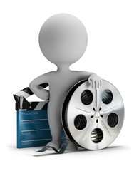 3d small people - cinema clapper and film tape