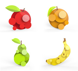 Four rendered fruits in vector-look.