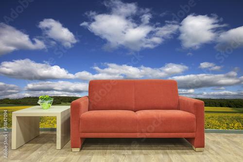 Auszeit Rotes Sofa Mit Landschaft Im Hintergrund Stock Photo And