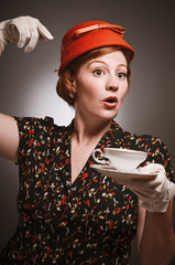 Retro Woman Drinking Her Tea