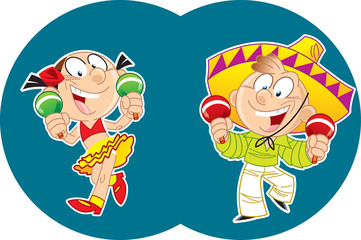 Mexican dance with maracas