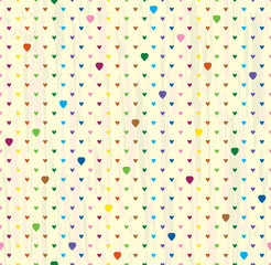 Vector seamless background of hearts. Bright points on a light