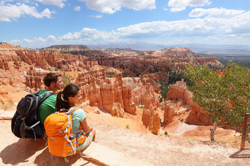 Hikers in Bryce Canyon resting enjoying view Wall mural