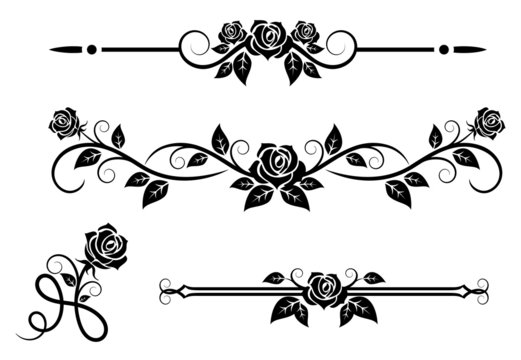 Rose flowers with vintage elements