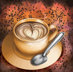 Cup of coffee on abstract colorful background