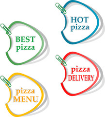 Best pizza, hot pizza, delivery stickers set