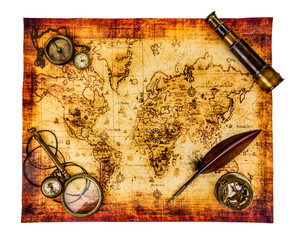 Vintage still life. Ancient world map isolated on white.