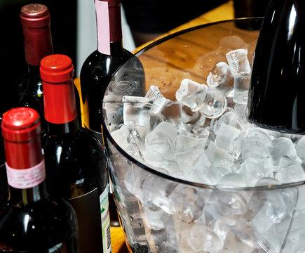 Red wine on ice