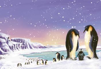 Fototapeten Pole pingüinos