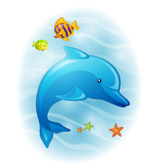Foto op Canvas Dolfijnen Vector Illustration of a Cartoon Dolphin