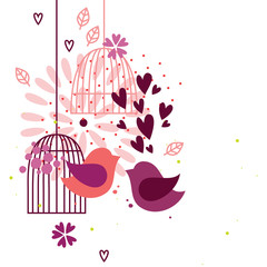 Deurstickers Vogels in kooien Love birds and cages