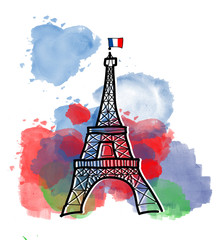 Poster Illustration Paris Colors of Eiffel Tower
