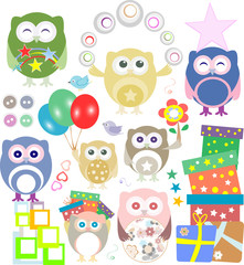 Set of christmas and winter themed owls