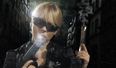 beautiful sexy girl holding gun .