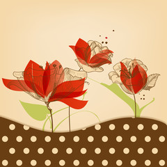 Spoed Fotobehang Abstract bloemen Retro floral beauty background