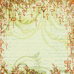Abstract vintage background with antique keys hanging on tree