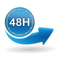 Fototapete - 48 heures sur bouton web bleu
