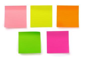 Five color blank sticky notes