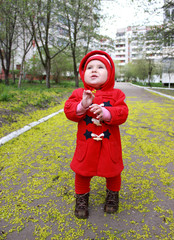 little girl with a flover