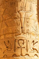 Hieroglyphic on the pillars of Karnak temple in Luxor, Egypt