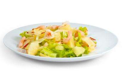 tasty apples shrimp salad isolated on white background