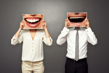 photo of laughing merrily couple Wall mural