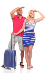 happy young woman and a man with a suitcase for travel