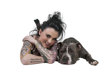 Beautiful Woman and Pit Bull
