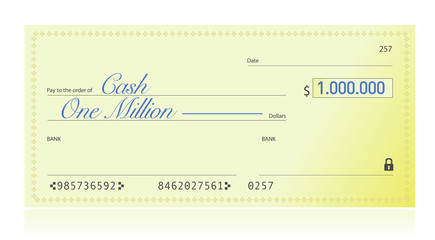 Closeup of Check Made Out for One Million Dollars
