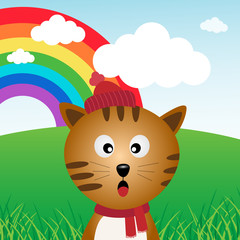 Deurstickers Katten Cat in the forest with rainbow