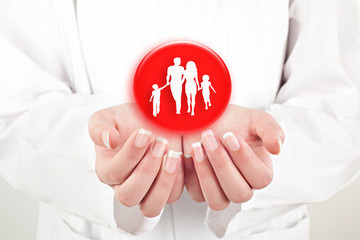 family with the protection of  hands, concept for security and c