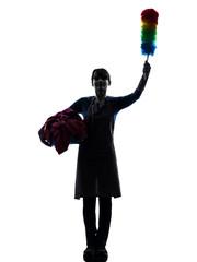 woman maid housework saluting silhouette