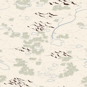 Seamless background of artistic painted map.