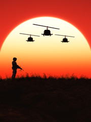 Foto op Canvas Militair Soldat im Sonnenuntergang