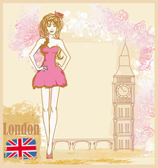 Papiers peints Doodle Beautiful woman in London card