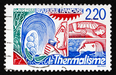 Postage stamp France 1988 Thermal Springs, Tourism