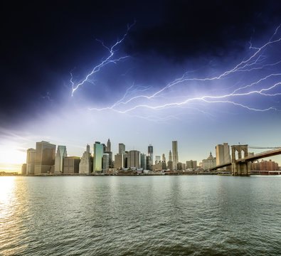 Amazing storm in New York Skies with Manhattan Skyscrapers.