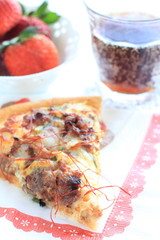 italian gourmet, beef and leek Pizza and cola