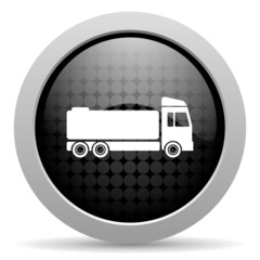 truck black circle web glossy icon