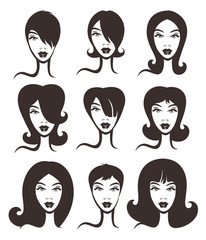 vector collection of woman faces and hairstyles
