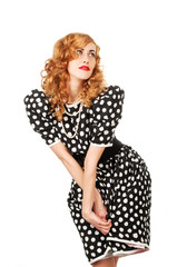 young beautiful  woman in retro dress