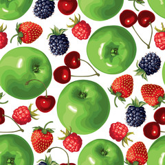 Green apple and berries seamless pattern