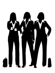 silhouettes of the business woman are presented