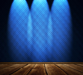 Stage with spotlights and abstract blue background
