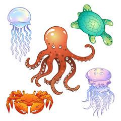 Set of  marine inhabitants