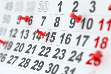 Calendar with red pins
