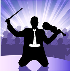 violinist on a scene