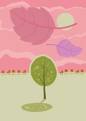 Lonely autumn tree. Vector cartoon landscape.