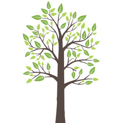 Stylized lone tree with fresh young leaves in spring
