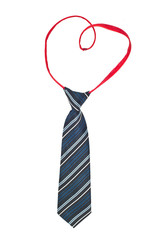 Necktie with heart isolated on white background